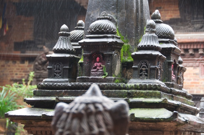 Raining in the Newari Buddhist Temple Chusya Bahal