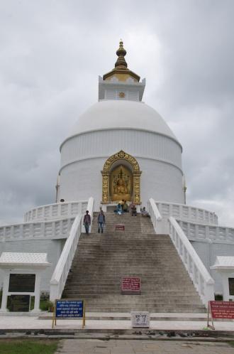 The Pokhara Peace Pagoda or Shanti Stūpa.