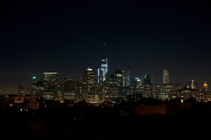 The New York Skyline by night as seen from Brooklyn.