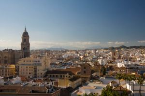 The city of Málaga as seen from the Alcazaba, a palatial fortification build in the 11th century.