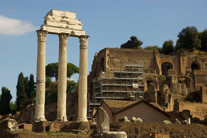 Forum Romanum (Latin) or Foro Romano (Italian) near the Colosseum
