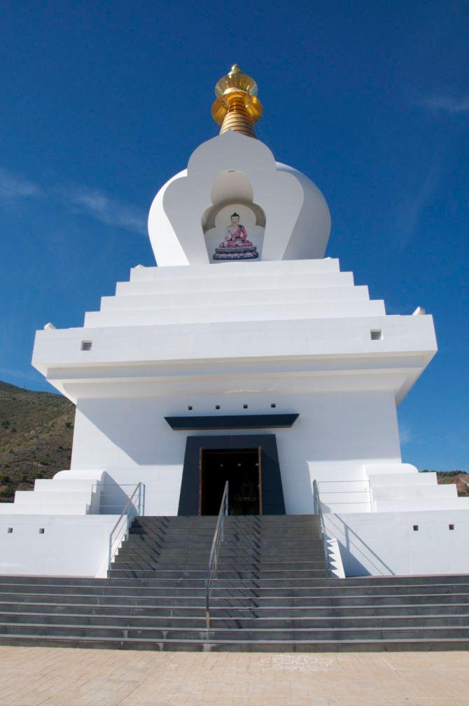 The 33 meter tall stupa at the Spanish coast in Benalmadena.