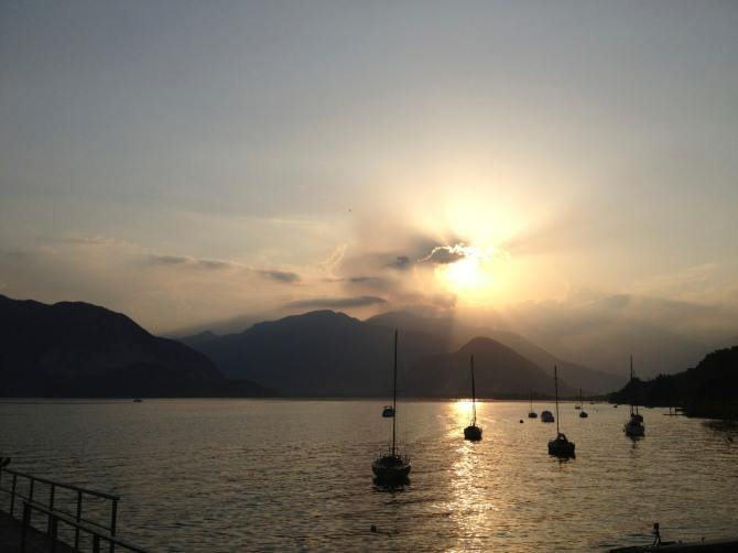 The view at sunset on Lago Maggiore (Greater lake, or in Latin: Lacus Verbanus).