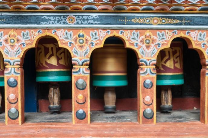 Prayer wheels in Paro Dzong