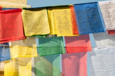Prayer flags in front of Stupa
