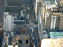 The view from the Empire State Building in New York on Christmas Eve 2001. The crossing is 34th (up-down) and 7th (left-right).