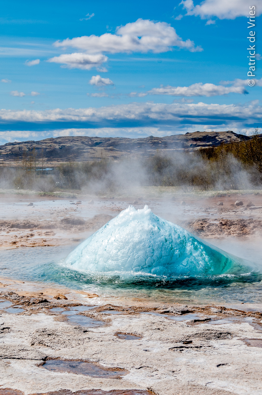 Hot water coming up - Strokkur geyser erupting
